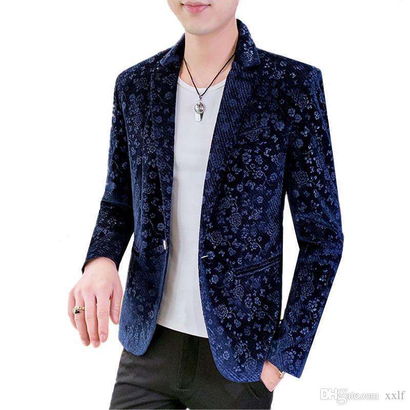 Herbst- und Wintermode männliche business casual anzug 2020 neue gold samt stoff diagonal streifen blazer männer jacke slim fit mantel