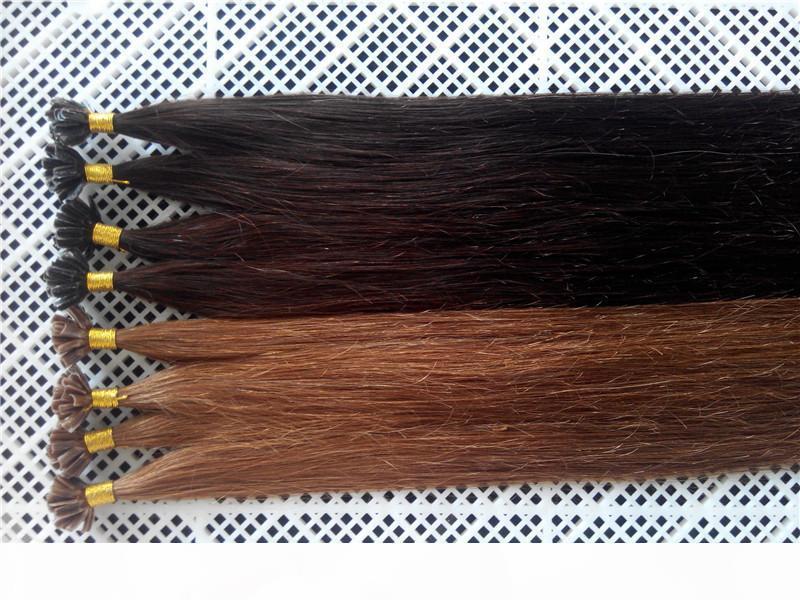 DHL Free 100g 18inch - 24inch 1g # 2 и # 8 кератина Prebonded ногтей U кончик Наращивание волос Silk Straight Remy индейца Pre облигационный волос