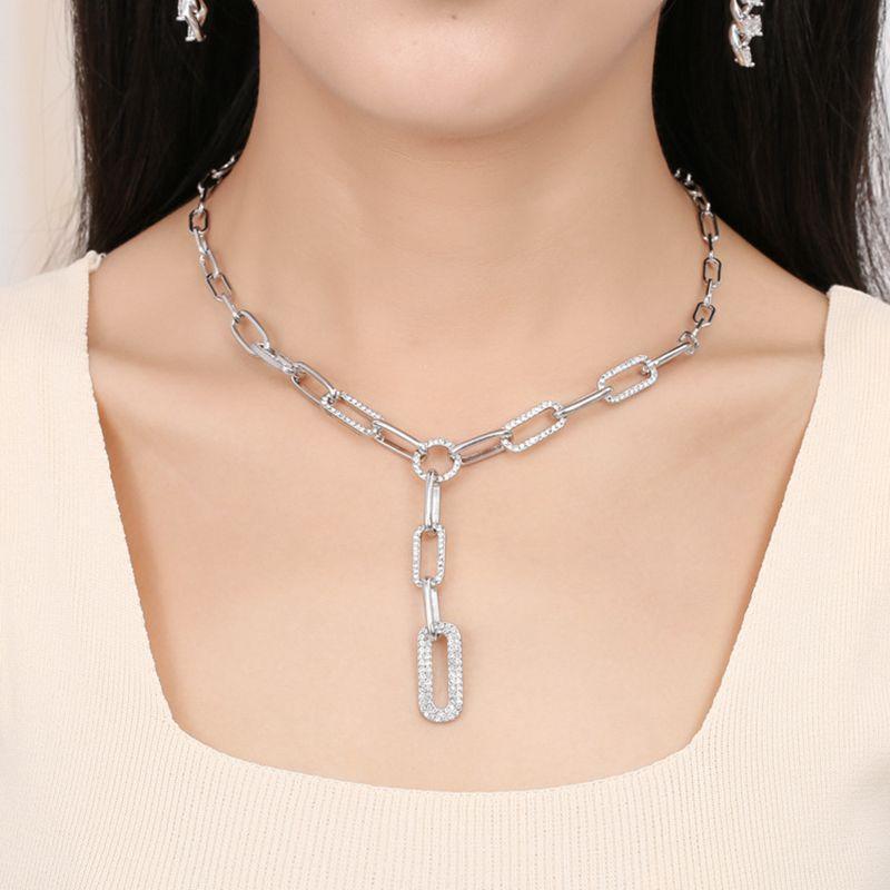 Colar de papel de cor prata ouro clipe grosso cadeia colar feminino suéter acessórios brilhantes strass costurando clavícula gargantilha colar