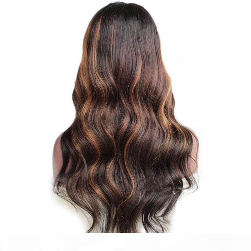 Pelucas de cabello humano de encaje completo de pre-arrancado con cabello bebé 150% Brasileño Remy Hair Ombre Pelucas frontales de encaje blanqueados Nudos Blanqueados Pelucas de mujer