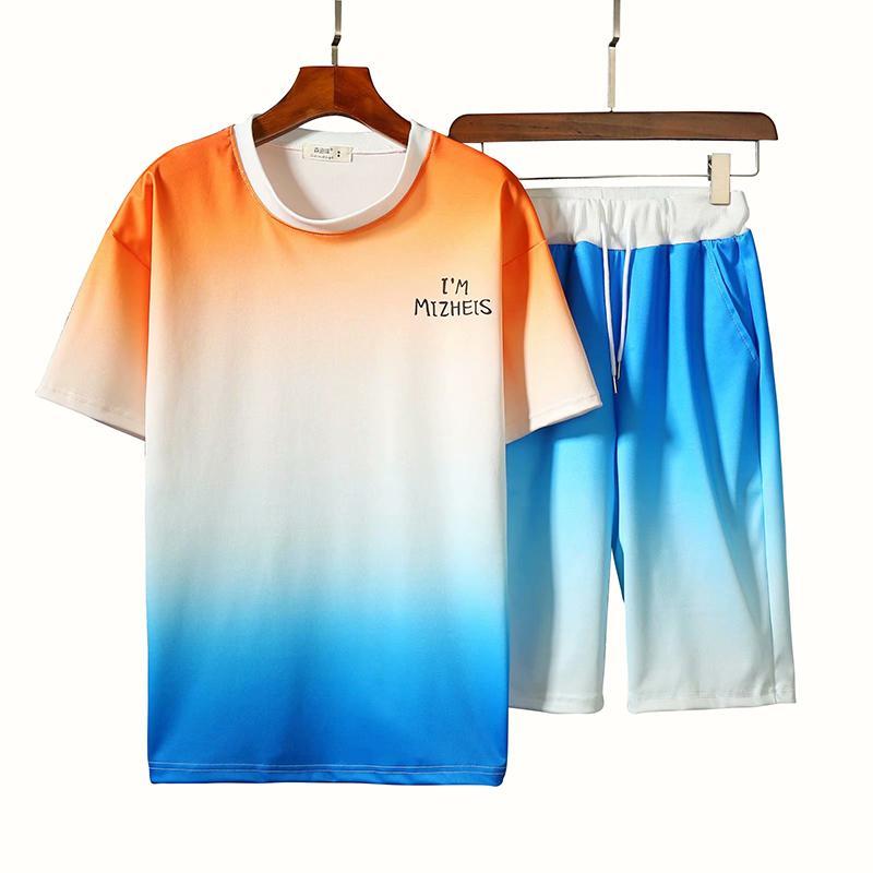 Летняя уличная одежда влюбленные костюма градиент цвета с коротким рукавом футболка + пот шорты хип-хоп повседневные повседневные борьбы
