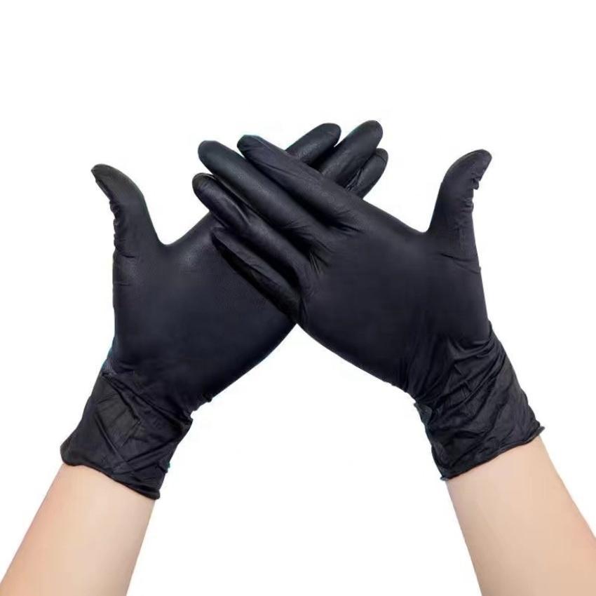 2021 Натуральный латексный осмотр Синие одноразовые черные нитрильные перчатки F1O4