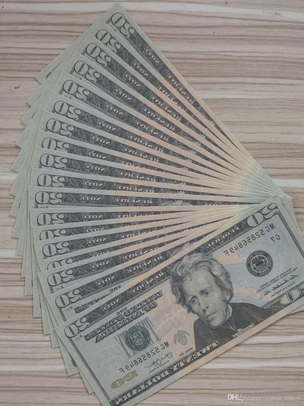 Meilleur vente en gros 001 de la qualité de la décoration de la qualité Decoration Faux Video Dollor 20 Money Comptage de l'argent de l'argent pour Film Kids Fake Home Film Sjhts