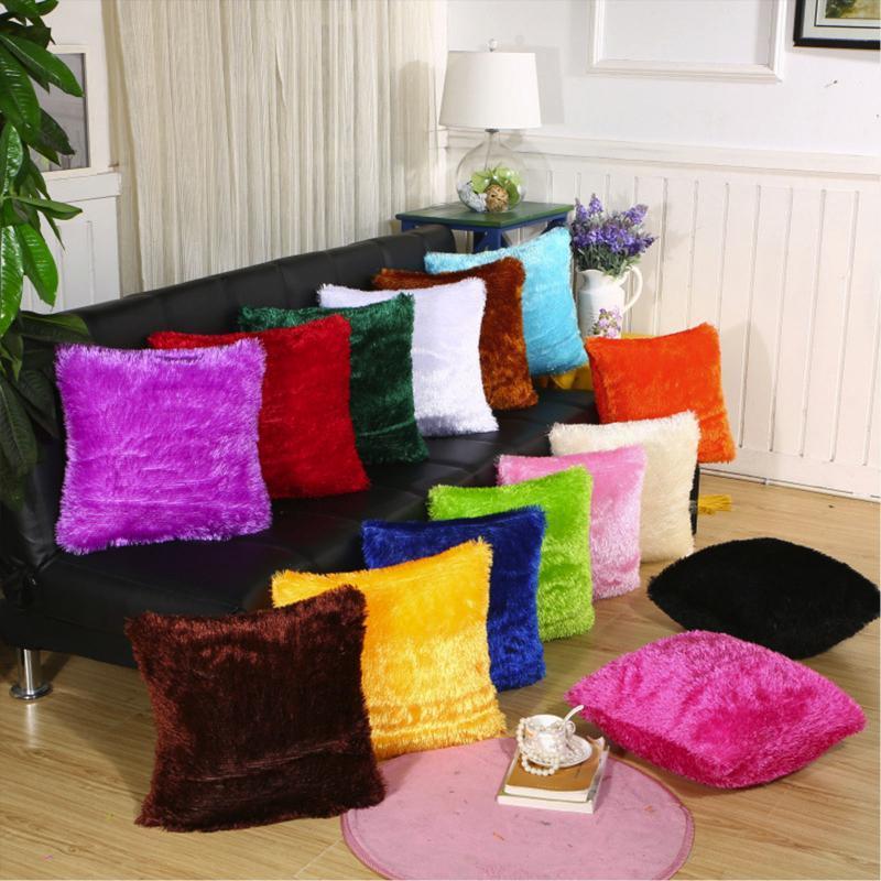Подушка / декоративная подушка плюшевые подушки чехол чисто цвет домашний бросок наволочки кровать стул диван декоративный обложка декор 43 × 43см фундамент Cojin F1