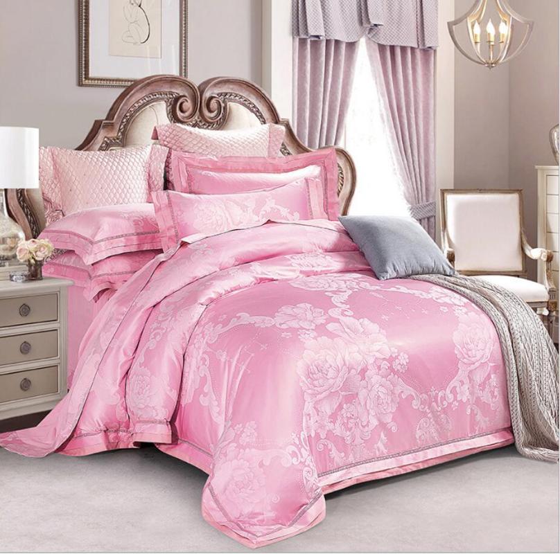 Rosa de seda jacquard satinado Funda Nórdica set 4/6 piezas Reina de matrimonio Ropa de cama de la boda Conjunto de algodón suave Bedsheet ropa de la funda de almohada