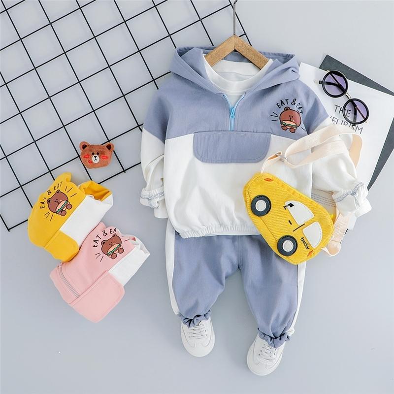 HYLKIDHUOSE Bebek Erkek Kız Giyim Setleri Toddler Bebek Giysileri Takım Elbise Kapşonlu Ayı T Gömlek Pantolon Çocuklar Çocuk Casual Kostüm 201023