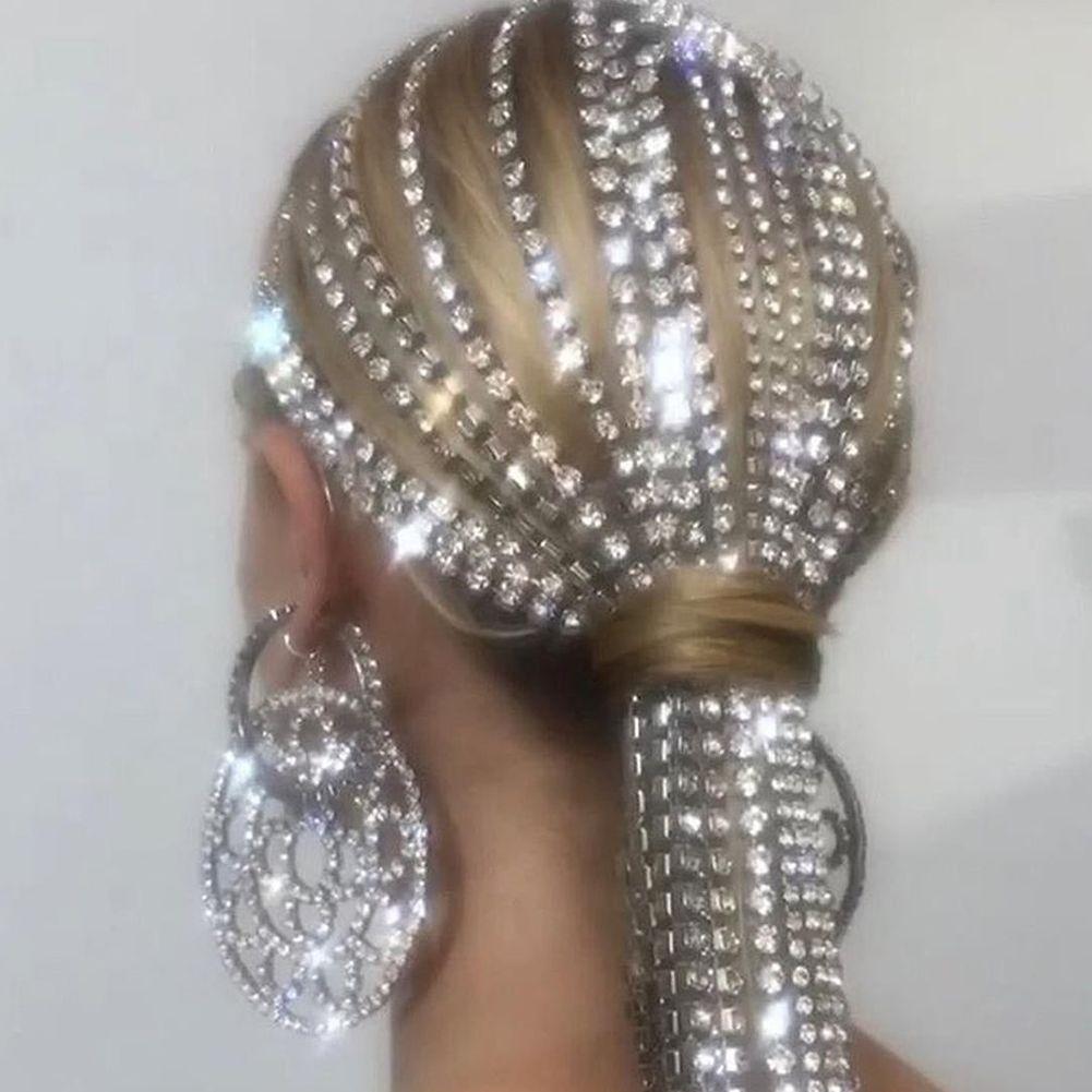 Lange Quaste Strass Kopfkette Headwear für Frauen Kristall Hochzeit Haarschmuck Braut Stirnband Schmuck