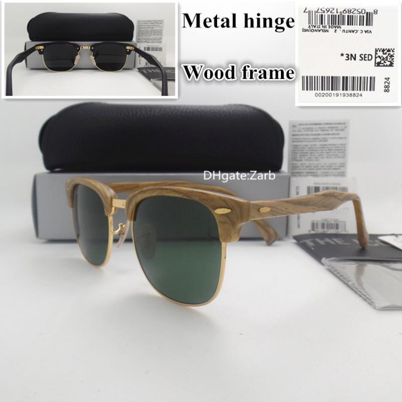 G15 círculo lente prancha mulheres dobradiça homens uv400 óculos de sol piloto quadro de madeira vidro com unisex 51mm caso de madeira caixa vintage óculos tirohg