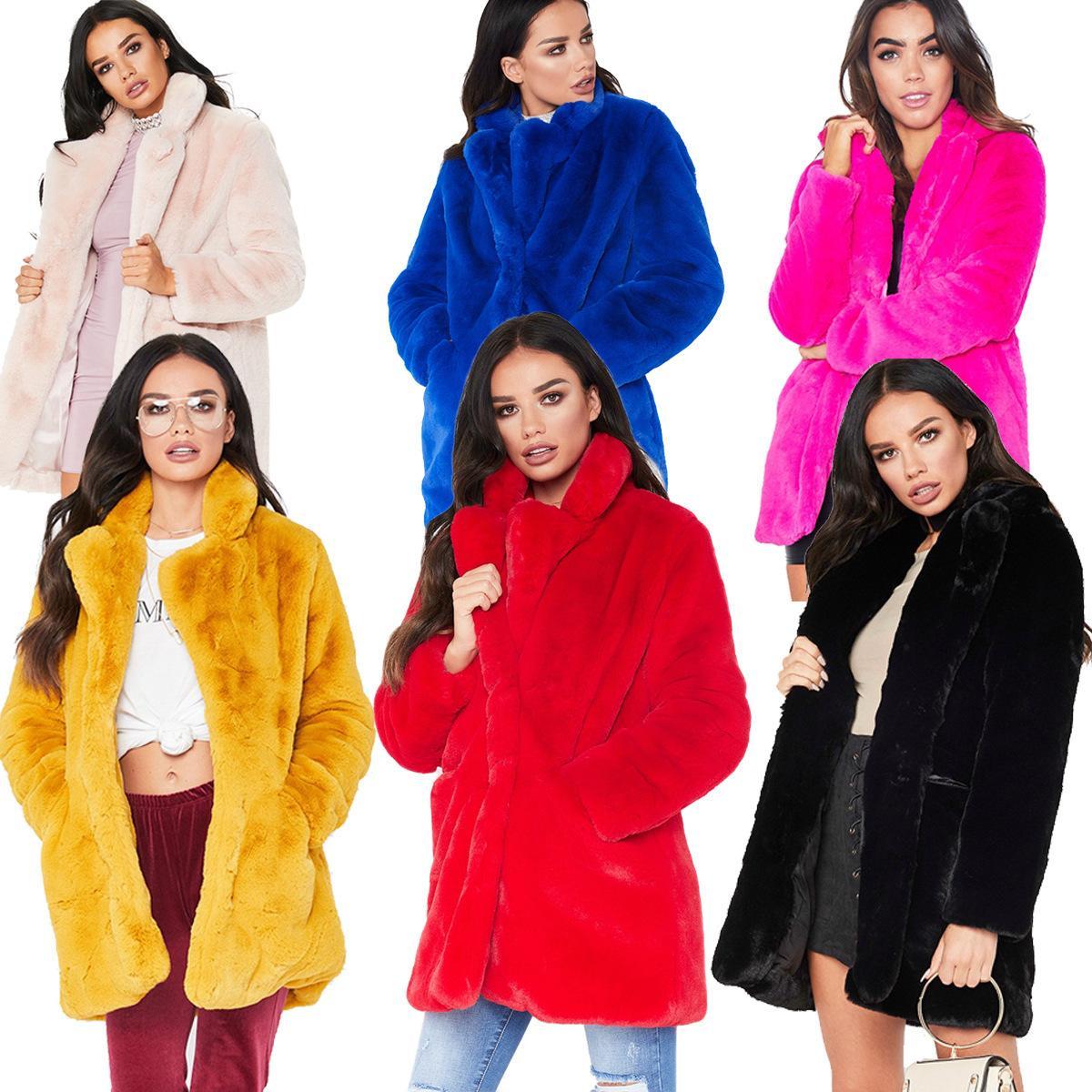 2020 Kış Yeni Avrupa Tarzı Faux Kürk kadın Giyim Artı Boyutu S-XXXXL Rex Tavşan Kürk Palto Sıcak Gevşek Trendy Kadın Açık Palto