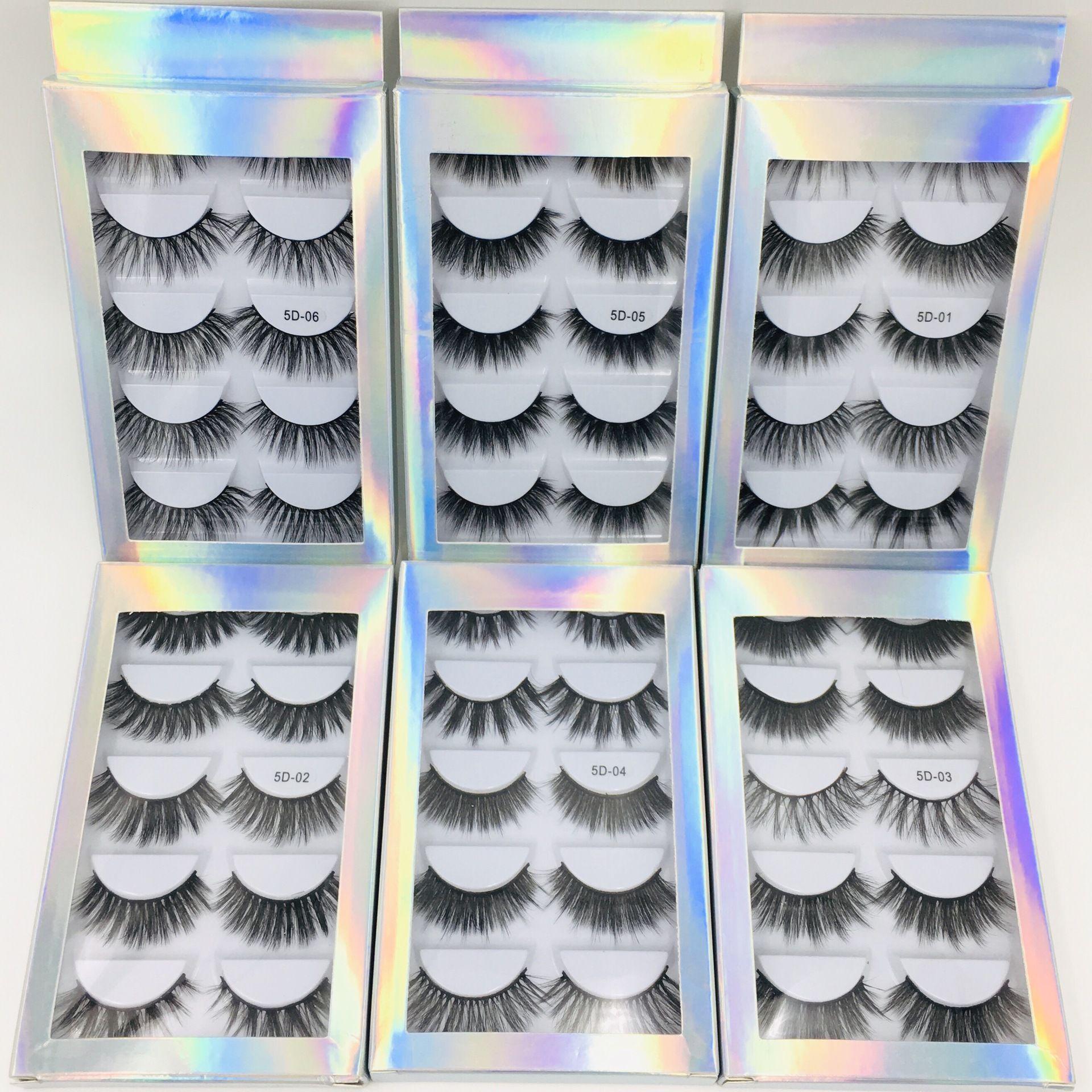 뜨거운 판매 최고의 가격 5 쌍 레이저 포장 상자 5D 밍크 속눈썹 자연 두꺼운 합성 눈 속눈썹 메이크업 수제 가짜 가짜 속눈썹