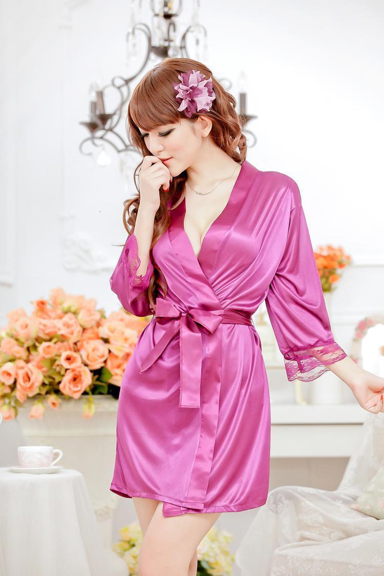 Vestido sexy womens vestir vestes seda laço kimono banho roupão babydoll lingerie + g-string