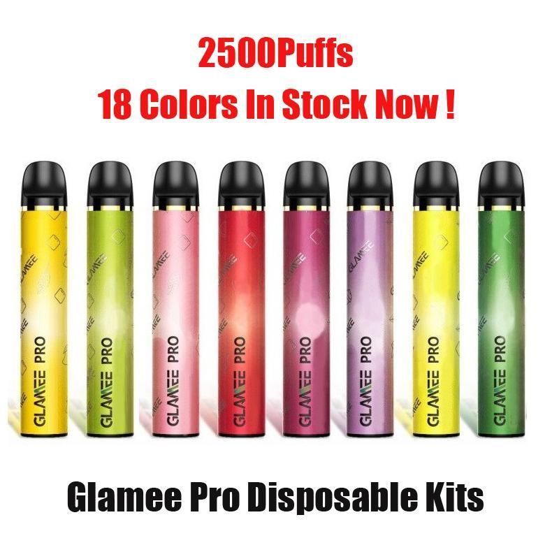 100% Origianl Glamee Pro Tek Kullanımlık Pod Cihazı 2500 Puffs 1500 mAh 8 ML 5% Tasarruf Pod Kitleri 18 Renkler Glamee Xtra Vape Pen Plus XXL DHL