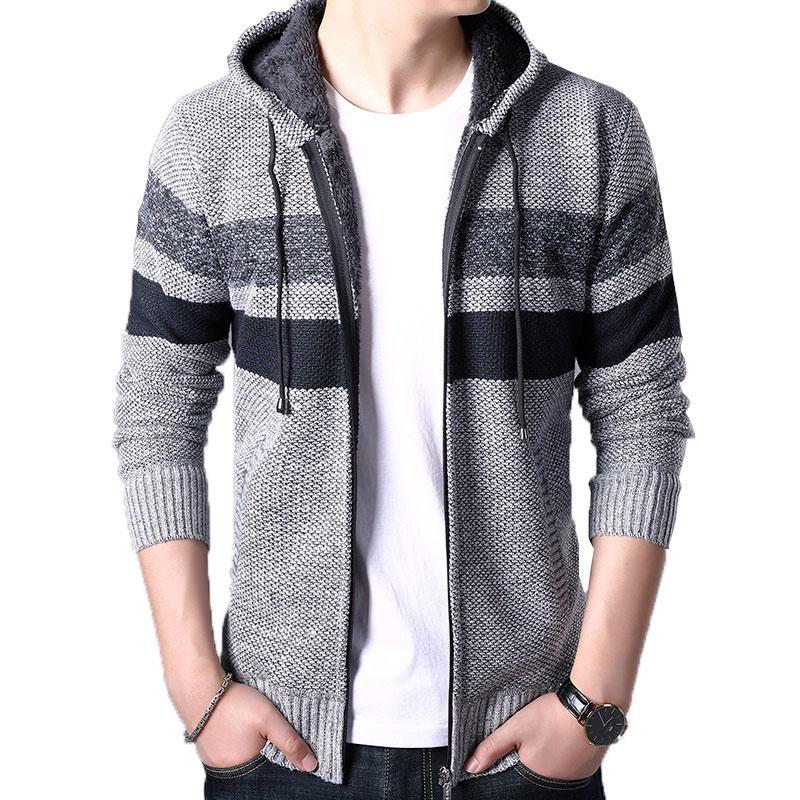 Men's Sweaters 2021 Autumn Men Fleece Cardigan Sweater Jumper Mens Winter Fashion Striped Knit Outwear Coat Male Hooded Sweatercoat 3XL