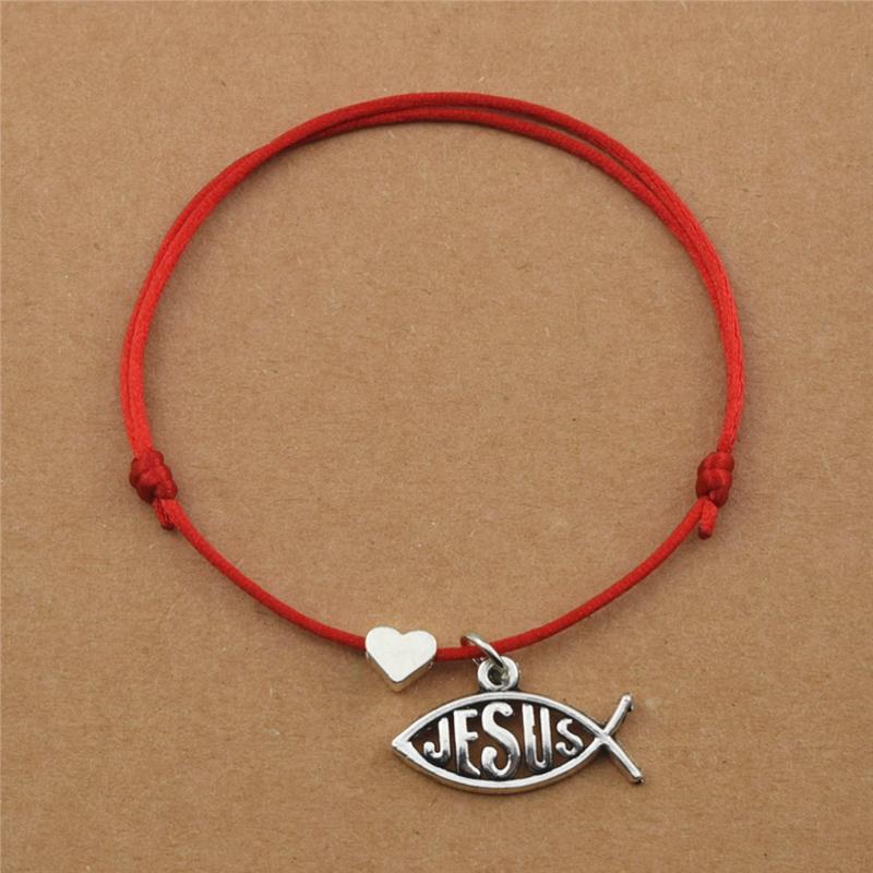 Handmade Новый Простой Регулируемый Черный Красный Веревочный Сердце Любовь Рыба Христианский Бог Иисус Очарование Браслеты Рождественские Ювелирные Изделия Подарки