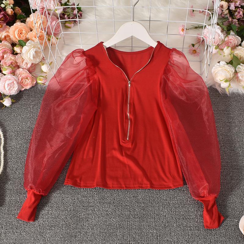 Autumn Korean Sexy V-Ausschnitt Exposed Clavicleweinlesehalskette Velvet Stitching Mesh-Langarmhemd Plissee mit hoher Taille geerntete Top Frauen HK145