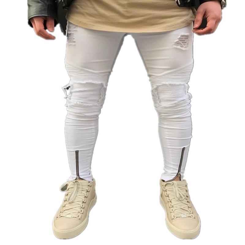 Puimentiua homens zipper jeans moda homens casual magro encaixar straight street stretch pés skinny calça jeans homens negros homens homme 201199