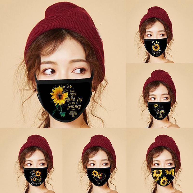 Baskı Yüz Maskesi Moda Tasarımcısı Ayçiçeği Kullanımlık Yıkanabilir Facemask Toz Geçirmez Dijital Ağız Parti Maskeleri DWF3