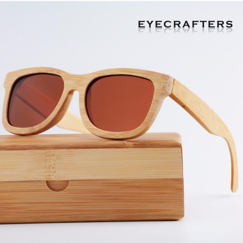 Lunettes de soleil Vintage Vintage Vintage polarisé pour hommes 100% Naturel Bamboo Wood Sunglasses Womens De Designer Wooden1