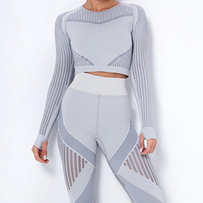 Mujeres transparentes trajes de yoga fitness ropa deportiva gimnasio tops tops de manga larga manga larga conjunto de cintura alta running leggings entrenamiento ropa