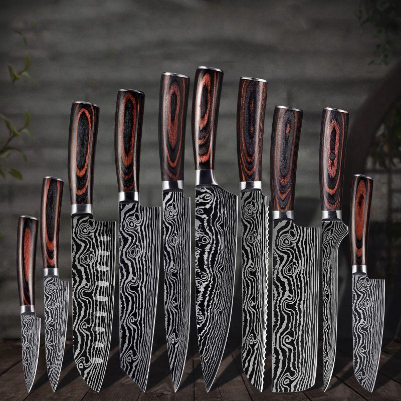 Coltelli da cucina Set Chef Knife ad alta carbonio in acciaio inox SANTOKU COLTELLO TARGHT CLIONTAVER SFRING CLICK CLICK Miglior scelta per la cucina