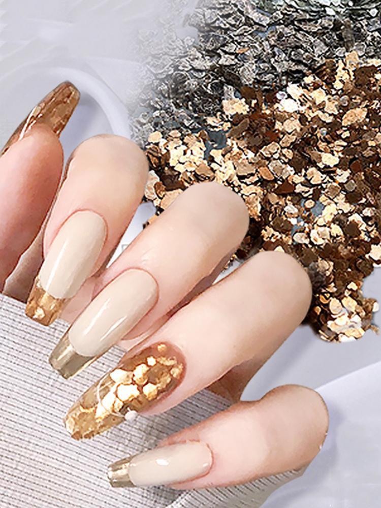1 unids uñas mica rebanadas irregular cobre escama grava para Japón brillo uñas arte manicura accesorios