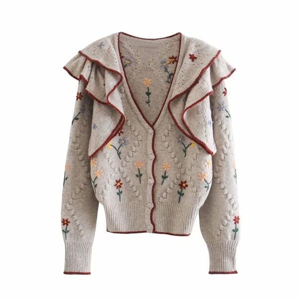 Za 2020 осень вышитые V-образным вырезом вязаный свитер дамы ретро взвешенные с длинным рукавом кардиган дамы повседневный свободный свитер Q1217