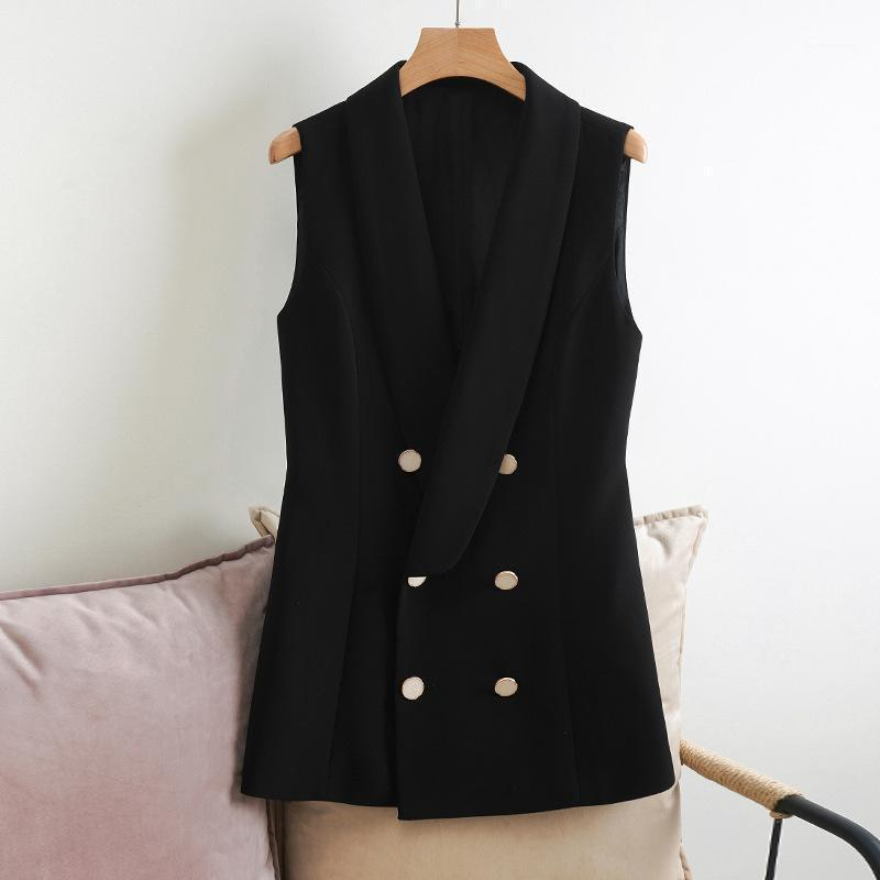 Spring Fall Autum Vest Vintage Classic Double Breasted Sleeveless Coat Jacket Top Formal Work Office Ladies Black Blazer Vests1