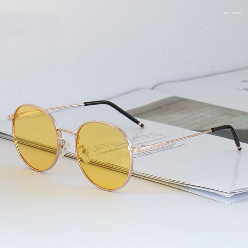 Dorkly 2020 Sonnenbrille Mode gelb Runde Sonnenbrille Linse1 UV400 Neue Gelbe Vintage Sonnenbrille Runde Frauen Echt Tejlx