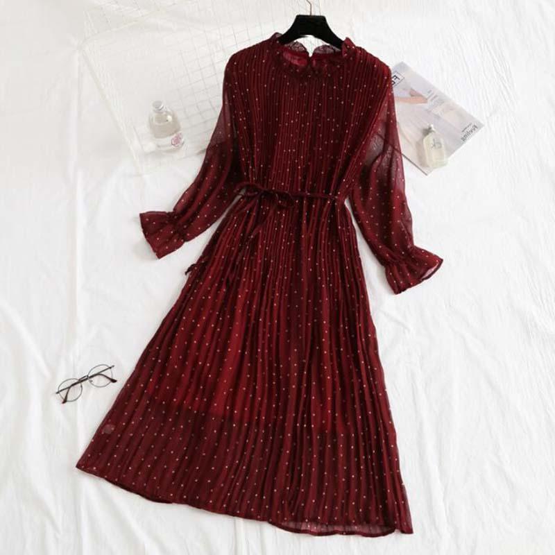 Mujeres Imprima Pleated Gasiffon Vestido 2020 Primavera Verano Nuevo Moda Caliente Femenino Felleza Casual Flotan Lotus Hoja Cuello Cuello Vestidos básicos1