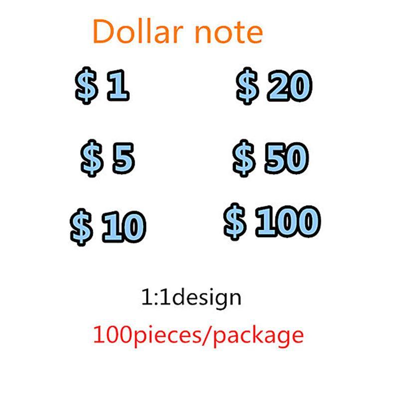 Vente chaude transfrontalière Nouveau et la plupart des accessoires réalistes Dollar Dollar accessoires Jouets pour enfants Jeux adultes accessoires Prix spécial Film Jeu de films 021