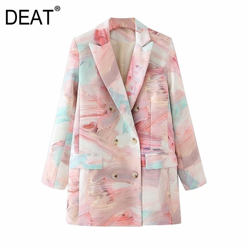 [Диры] Женщины напечатаны смешанный цвет двубортный пиджак Новый отворот с длинным рукавом свободная пиджака мода прилив весна осень LJ201214