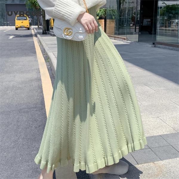 UVRCOS Kış Moda 2020 Yeni Sonbahar Ve Kış Sıcak Büyük Salıncak Kazak Etekler Elastik Bant Yüksek Bel MIDI Uzun A-Line Örme Y1214