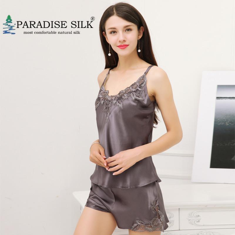 Femmes Pajama Sets 100% Pure Femme Camisole Ensemble Exquise Broderie Broderie Top et Short Silk Sleepwear Taille M L XL