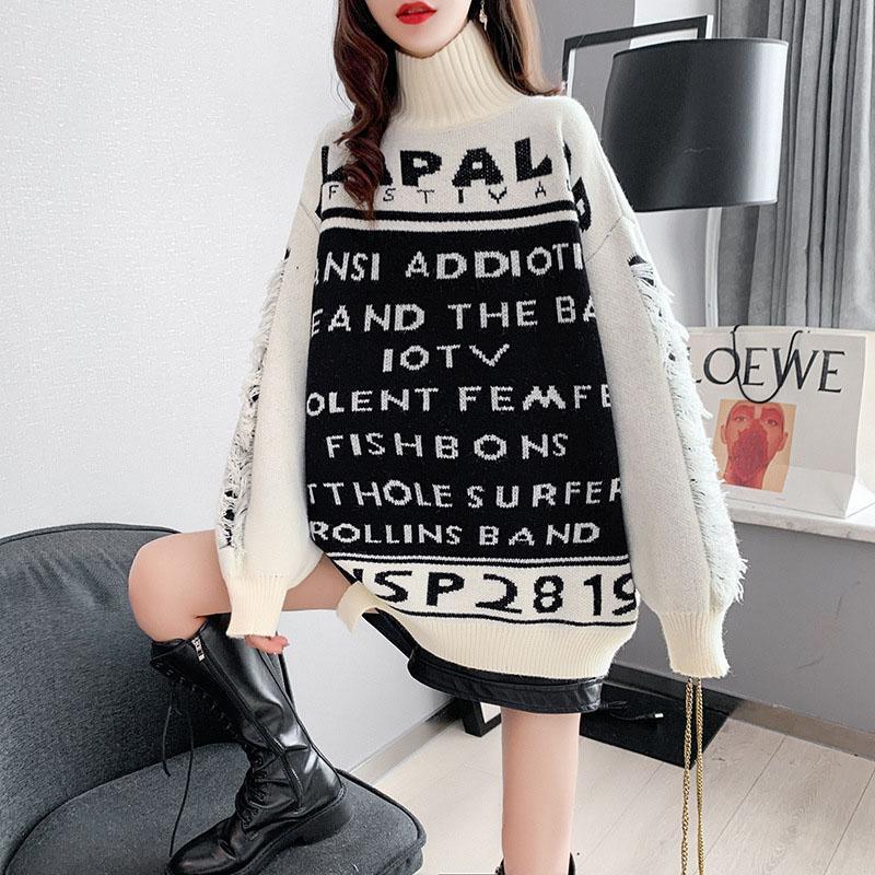 뜨거운 판매 새로운 숙녀 스웨터 긴 소매 풀 오버 겨울 따뜻한 편지 스웨터 니트 풀오버 패션 느슨한 숙 녀 귀여운 풀 오버 우아한 니트