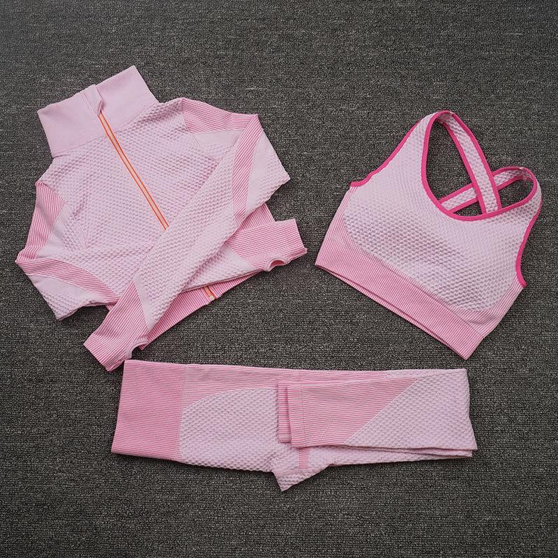 Enseñar el desgaste de la moda diseñadora de moda de algodón de algodón traje de yoga gimnasio deportes ropa de vestir fitness conjunto de tres piezas 3 unids sostén leggings trajes gimnasio desgaste para mujer blazer chaqueta