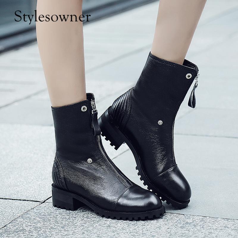 Çizmeler stylesowner arzu retro motosiklet siyah gerçek deri ön fermuar kış sıcak kadın tutmak