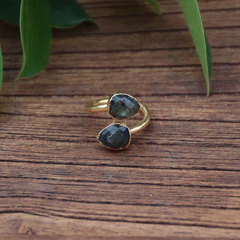 201218 Labradorite anel anel estilo diário tamanho ajustável