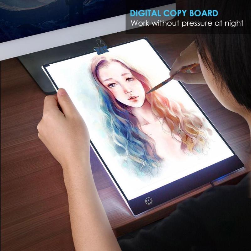 A4 디지털 그래픽 태블릿 LED 드로잉 태블릿 얇은 아트 스텐실 드로잉 보드 라이트 박스 추적 복사 패드 패드 무단 디밍 선물