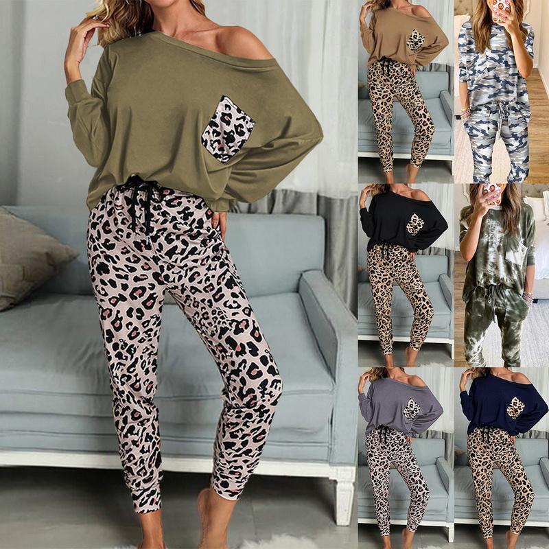 Женские толстовки для толстовки женские мода домашняя одежда набор с длинным рукавом верхний леопард напечатанные эластичные спортивные штаны с карманами PRI