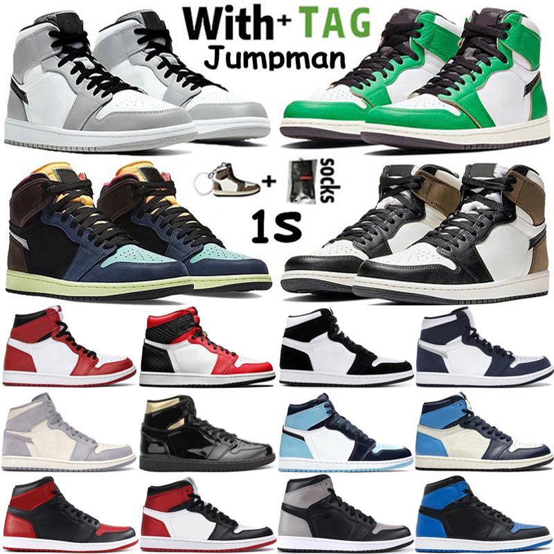 2021 Yüksek OG Jumpman 1 1 S Erkek Basketbol Ayakkabı Şanslı Yeşil Tokyo Hack Işık Duman Gri UNC Obsidiyen Büküm Kadın Sneakers Eğitmenler Boyutu 36-46