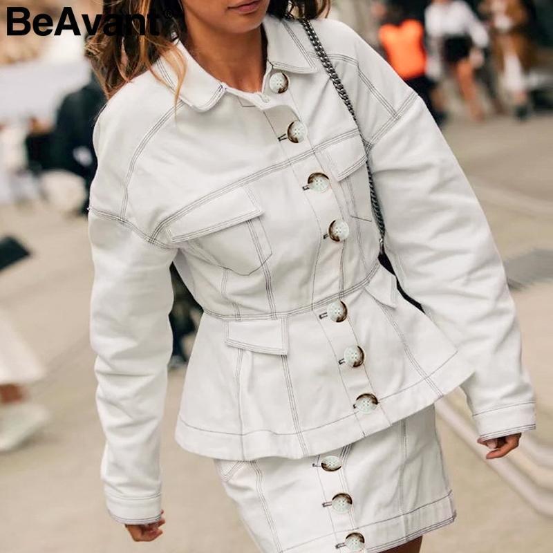 BeAvant eleganti bottoni donne denim giacca a maniche lunghe signore ufficio giacca di cotone femminile di autunno outwear vita alta camici bianchi