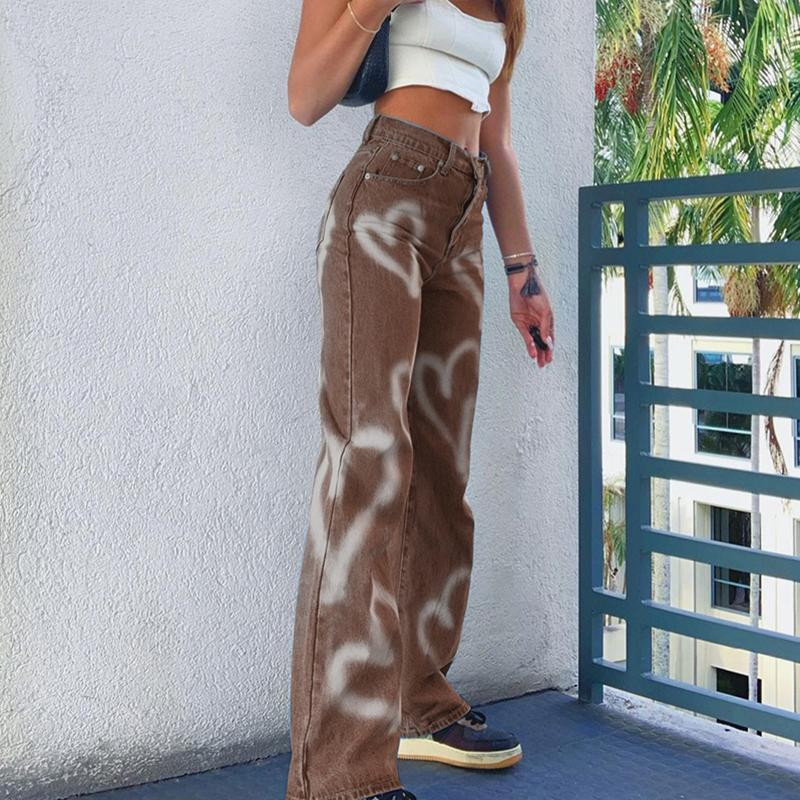 İndie estetik kahverengi baggy kadınlar kalp baskı anne kot kız streetwear kış vintage punk düz pantolon w0104