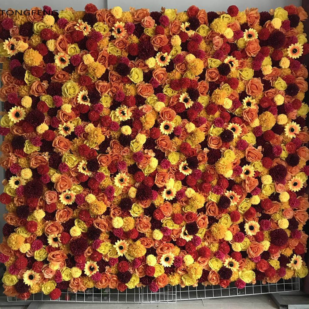 Tongfeng mariage 3D mur décoration fleur de toile de fond de soie rose pivoine de mariage de fleurs artificielles coureur 10pcs / lot ROUGE