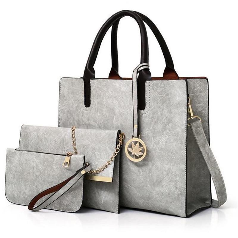 Moda simples 3 pcs saco feminino conjunto pu bolsa de couro senhoras cor sólida mensageiro bolsa de ombro carteira sacos 20 # 48 C1223