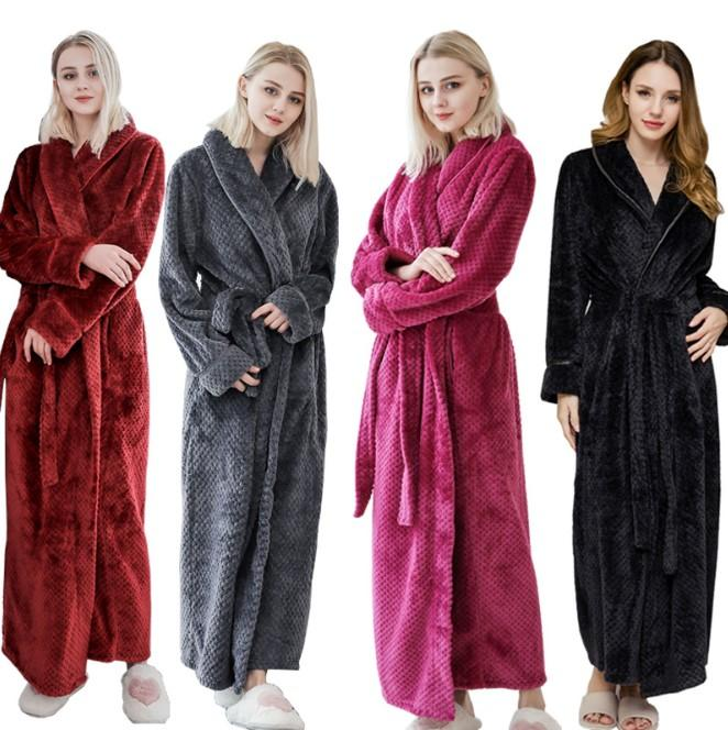 Femmes Casual Sleepwear Sleepwear Automne Hiver Épaissir Taille Taille longue Taille de nuit Tête Femme Robe Femme Casual Home Wear Pyjamas