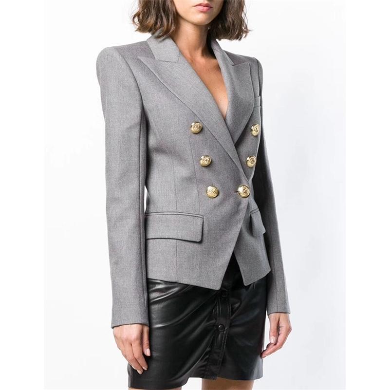 Hohe qualität neue mode designer blazer frauen double breasted metall lion buttons baumwolle-mischung blazer jacke 201110