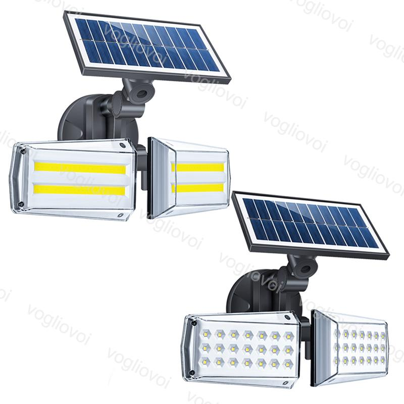 Solar Security Lights Motion Sensor Double Heads 42LED 80COB Solar Panels Power Waterproof 6500k For Outdoor Garden Sunlight Wall Street DHL