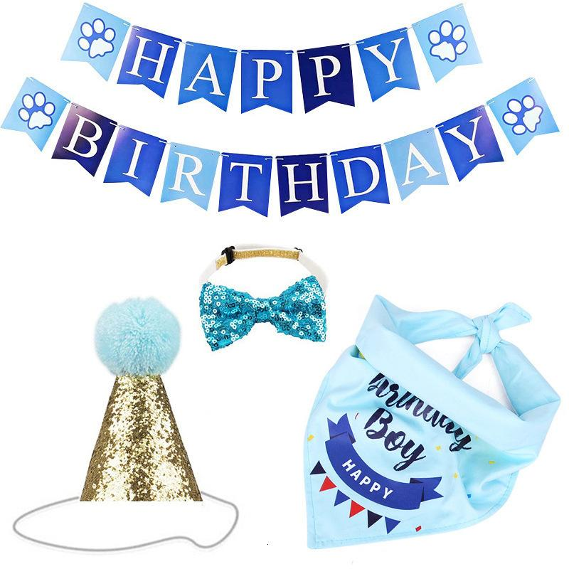 Dreieck Hund Hund Party Kleidung Flagge Haustier Geburtstag Schal Kuchen Hut Dekoration Requisiten Layout Liefert Urlaub Dress Up Set für freies Schiff