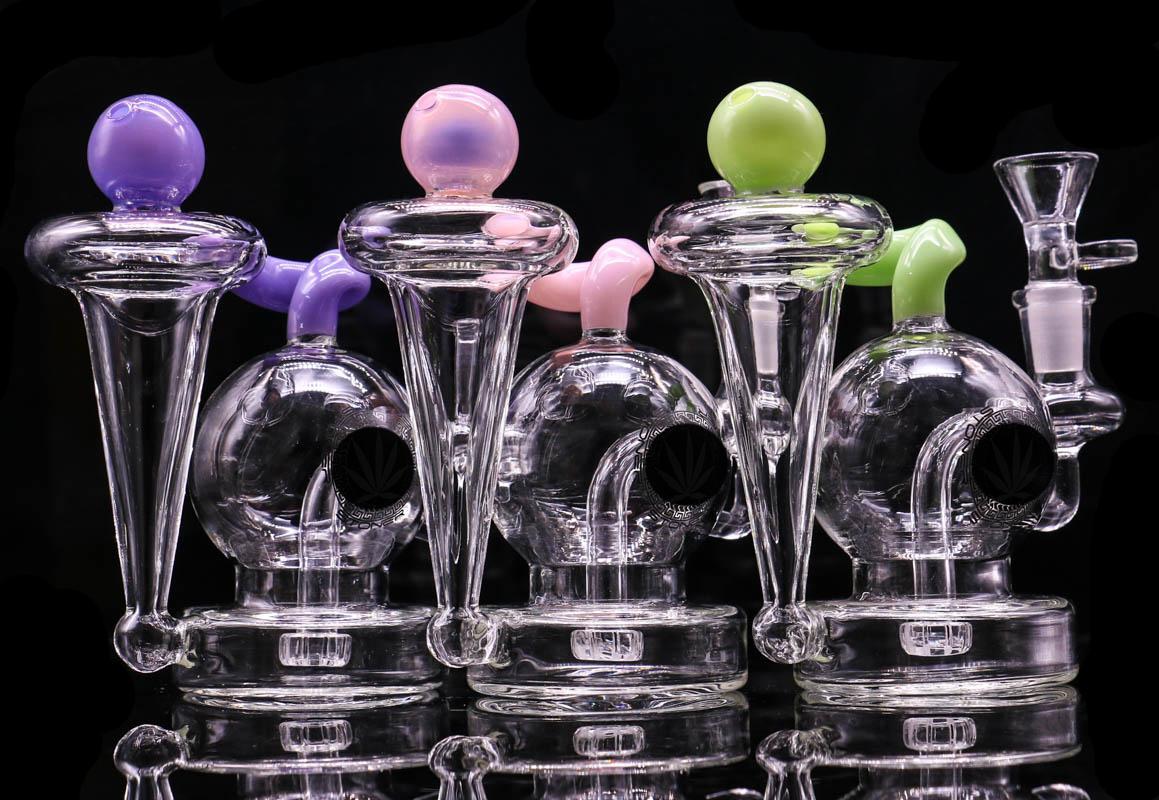 """5.7 """"Cam Bong Recycler Dab Teçhizat Balmumu Herb Tütün Su Borusu ile 3 Farklı Renkler Oil Teçhizat Cam Bipbler"""