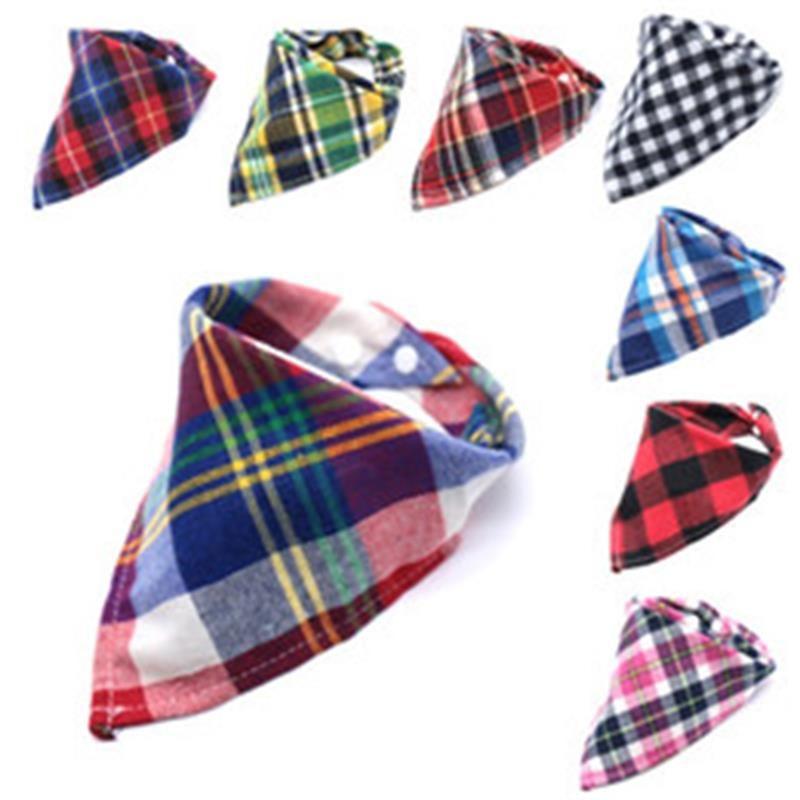 Snap-Knopf-Plaid-Muster Lätzchen Multi Color Baby Baumwollwolle Dreieckiger Schal Herbst Winter Burp Towel Warm 1 5TT P2